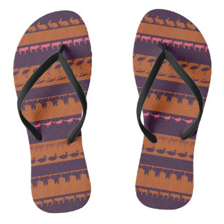 Retro Colorful Animals Pattern #2 Flip Flops
