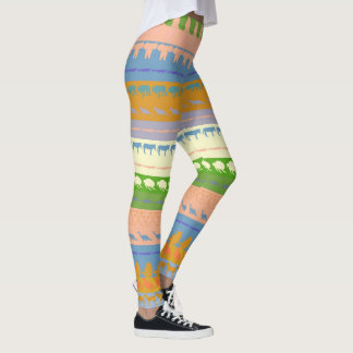Retro Colorful Animals Pattern #3 Leggings