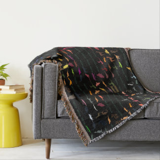 Retro Colorful Animals Pattern #5 Throw Blanket