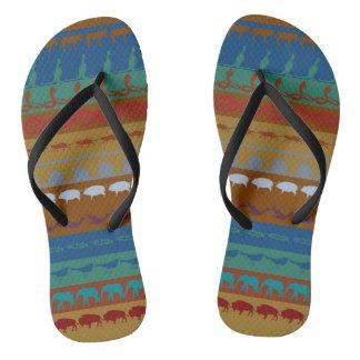 Retro Colorful Animals Pattern #6 Flip Flops