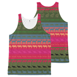 Retro Colorful Animals Pattern #7 All-Over Print Tank Top