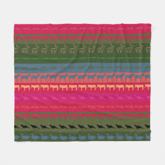 Retro Colorful Animals Pattern #7 Fleece Blanket