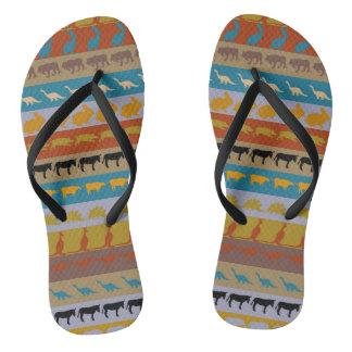 Retro Colorful Animals Pattern #8 Flip Flops
