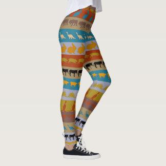 Retro Colorful Animals Pattern #8 Leggings