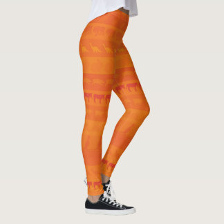 Retro Colorful Animals Pattern #9 Leggings