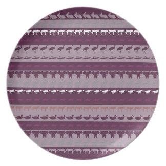 Retro Colorful Animals Pattern Plate