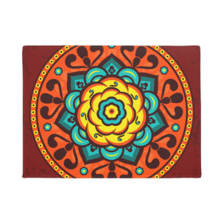 Retro Colorful Beautiful Boho Bohemian Doormat