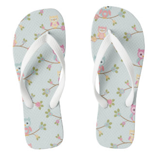 Retro Colorful Beautiful Custom Owl Flip Flops