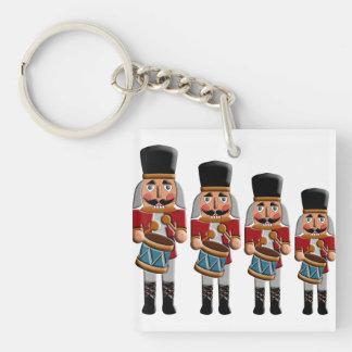 Retro Colorful Christmas Nutcracker Square Acrylic Key Chain