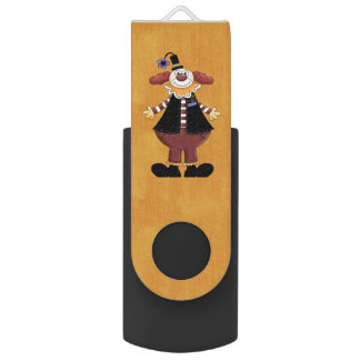 Retro Colorful Circus Clown Swivel USB 3.0 Flash Drive