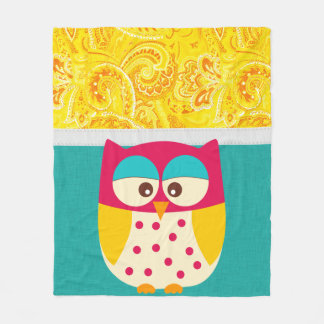 Retro Colorful Custom Owl Fleece Blanket