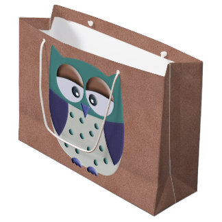 Retro Colorful Custom Owl Large Gift Bag
