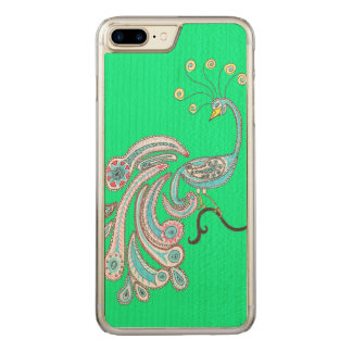 Retro Colorful Fantasy Peacock Drawing on Green Carved iPhone 8 Plus/7 Plus Case