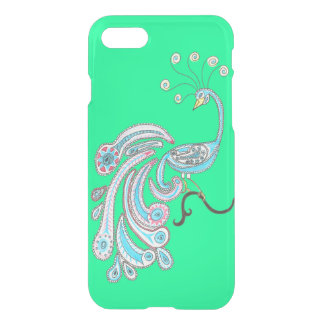Retro Colorful Fantasy Peacock Drawing on Green iPhone 8/7 Case