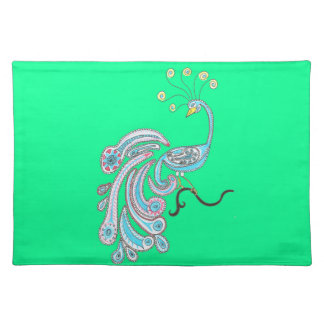 Retro Colorful Fantasy Peacock Drawing on Green Placemat