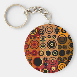 Retro Colorful Fifties Abstract Art Basic Round Button Key Ring
