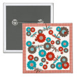 Retro Colorful Flower Dragonfly Pattern Pinback Button