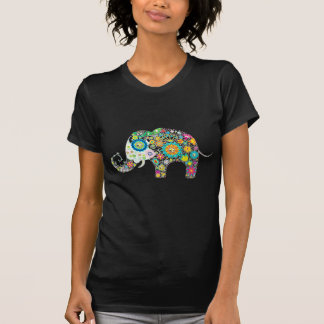 Retro Colorful Flower Elephant & Diamonds Pattern T Shirts