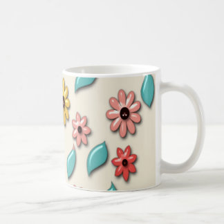 Retro Colorful Flower Pattern Basic White Mug