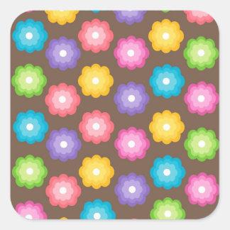 Retro Colorful Flower Pattern Square Sticker