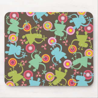 Retro Colorful Fun Cute Boy Cartoon Aliens Pattern Mouse Pad