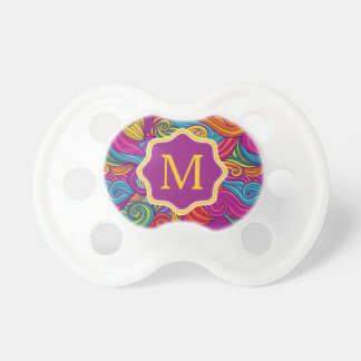 Retro Colorful Jewel Tone Swirly Wave Pattern Baby Pacifiers