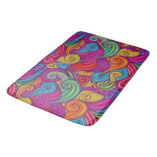 Retro Colorful Jewel Tone Swirly Wave Pattern Bath Mats