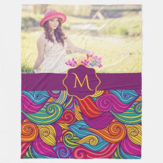 Retro Colorful Jewel Tone Swirly Wave Pattern Fleece Blanket