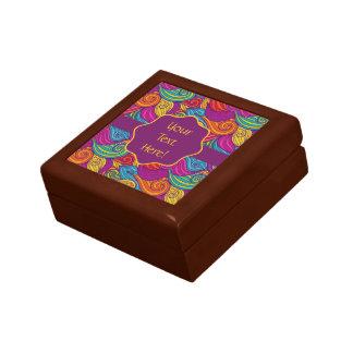 Retro Colorful Jewel Tone Swirly Wave Pattern Gift Box
