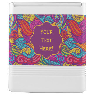 Retro Colorful Jewel Tone Swirly Wave Pattern Igloo Cool Box