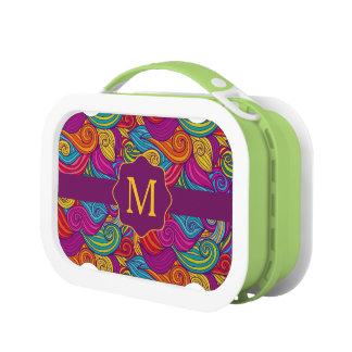 Retro Colorful Jewel Tone Swirly Wave Pattern Lunch Box