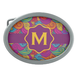 Retro Colorful Jewel Tone Swirly Wave Pattern Oval Belt Buckles