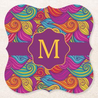 Retro Colorful Jewel Tone Swirly Wave Pattern Paper Coaster