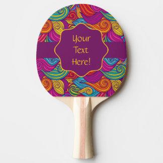 Retro Colorful Jewel Tone Swirly Wave Pattern Ping Pong Paddle