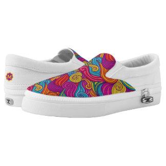Retro Colorful Jewel Tone Swirly Wave Pattern Slip On Shoes