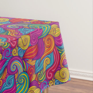 Retro Colorful Jewel Tone Swirly Wave Pattern Tablecloth