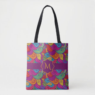 Retro Colorful Jewel Tone Swirly Wave Pattern Tote Bag