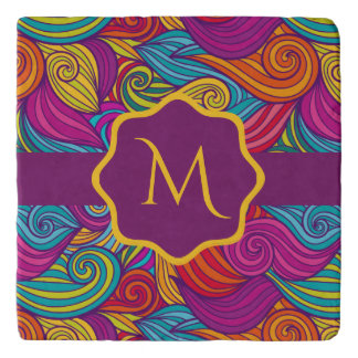 Retro Colorful Jewel Tone Swirly Wave Pattern Trivet