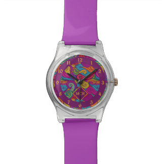 Retro Colorful Jewel Tone Swirly Wave Pattern Watch