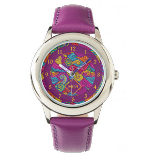 Retro Colorful Jewel Tone Swirly Wave Pattern Wristwatch