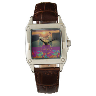 Retro Colorful Jewel Tone Swirly Wave Pattern Wristwatches