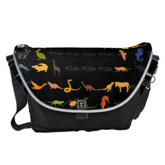 Retro Colorful Modern Animals Pattern #2 Courier Bag