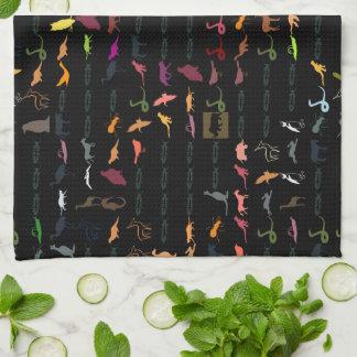 Retro Colorful Modern Animals Pattern #2 Tea Towel