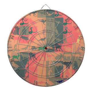 Retro Colorful Modern Animals Pattern Dartboard
