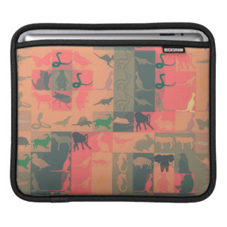 Retro Colorful Modern Animals Pattern iPad Sleeve