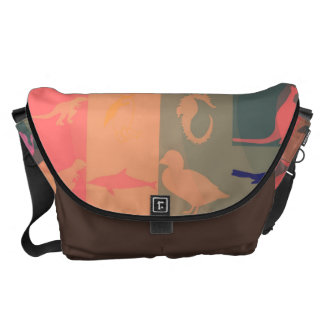 Retro Colorful Modern Animals Pattern Messenger Bags