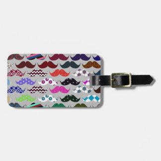 Retro Colorful Mustache Pattern Luggage Tag