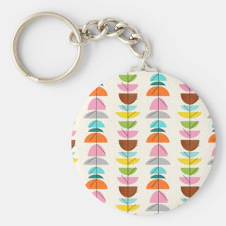 Retro Colorful Nests Button Keychain