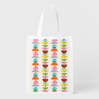 Retro Colorful Nests Reusable Grocery Bag