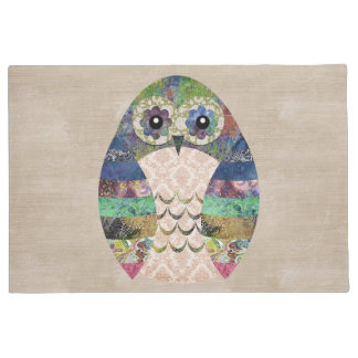Retro Colorful Owl Boho Bohemian Bird Custom Doormat